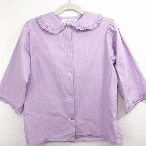 Hannah Kate 3/4 Sleeve Gingham Blouse Purple White